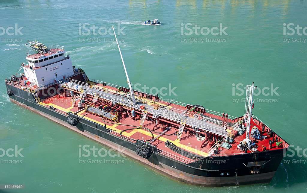 Oil tanker with red deck royalty-free stock photo