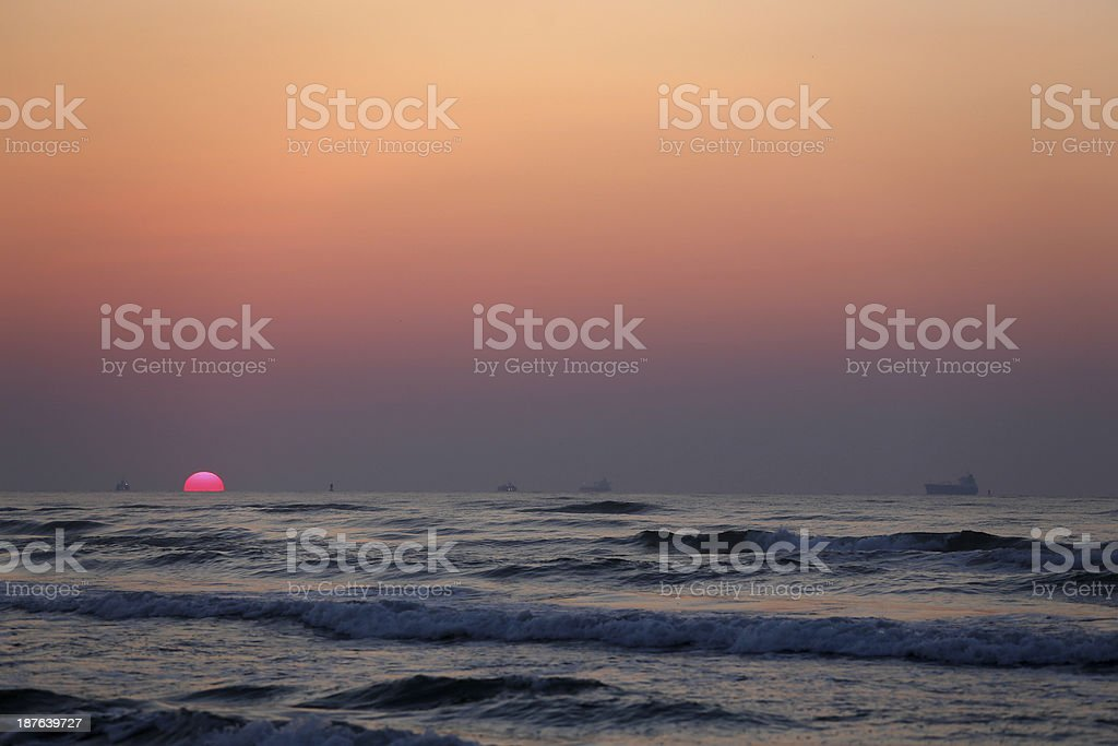 Oil Tankers at Sunrise stock photo