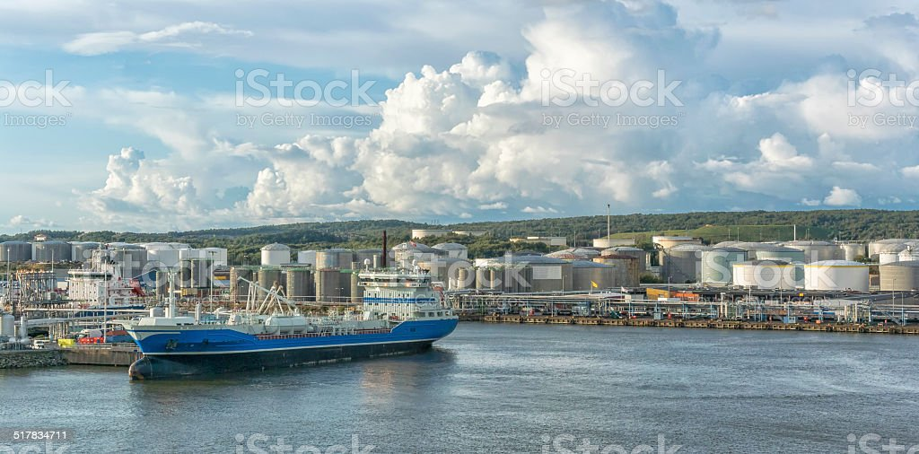 Oil tankers in a harbor stock photo
