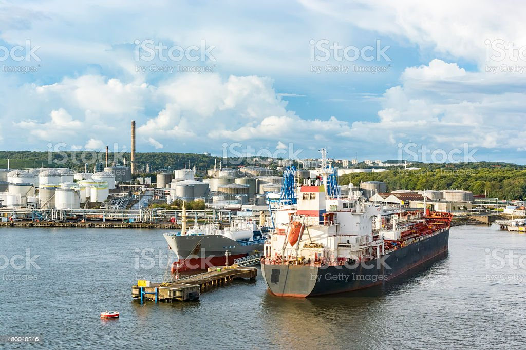 Oil tankers in the port of Gothenburg in Sweden stock photo