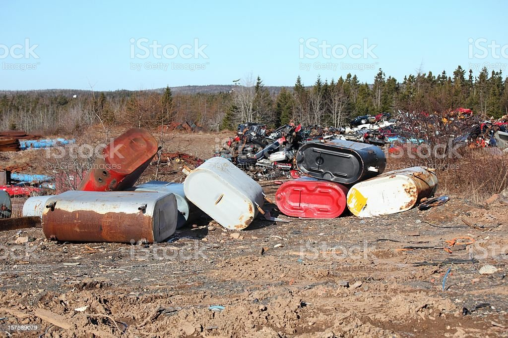 Oil Tanks at a salvage yard royalty-free stock photo