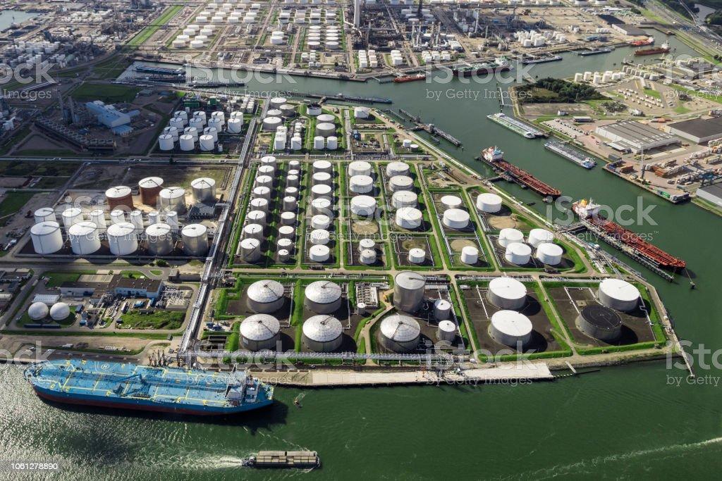 Oil terminal tanker aerial view port stock photo