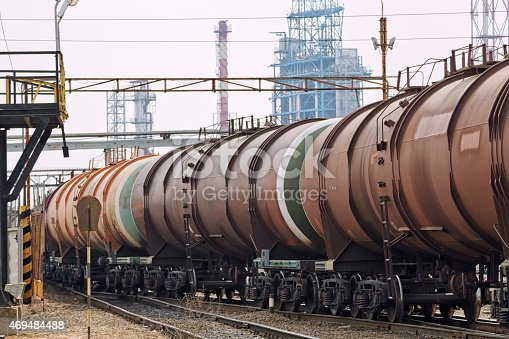 oil train wagons on oil refinery