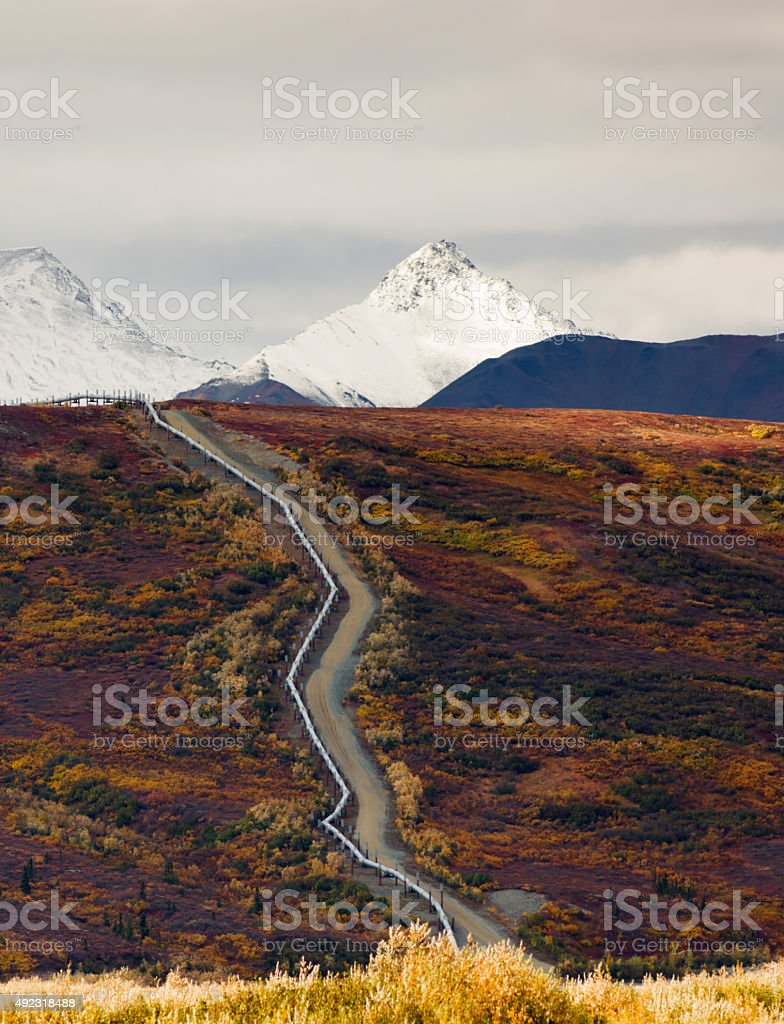 Oil Transport Alaska Pipeline Cuts Across Rugged Mountain Landscape stock photo