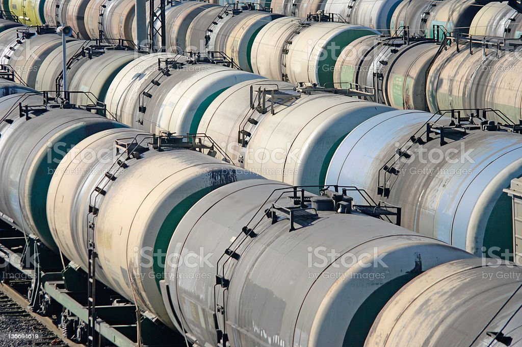 Oil transportation in the railroad tank royalty-free stock photo