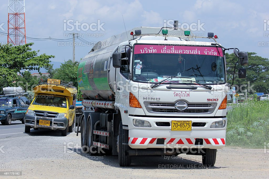 Oil Truck of Yueasikhaew Oil transport Company. Photo at road no.121...