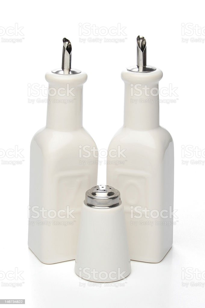 Oil, vinegar and salt bottles royalty-free stock photo