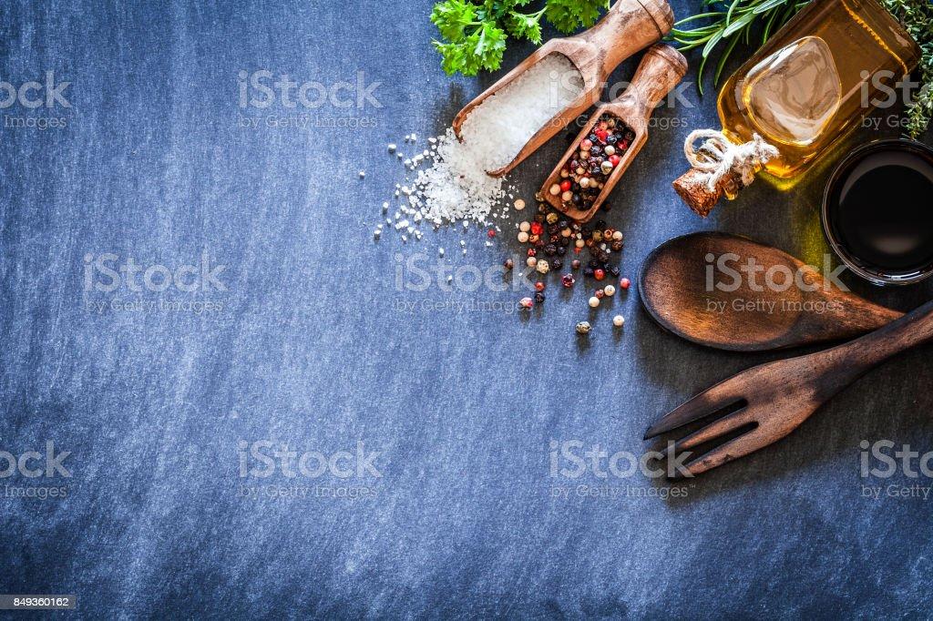 Oil, vinegar, salt and pepper. stock photo