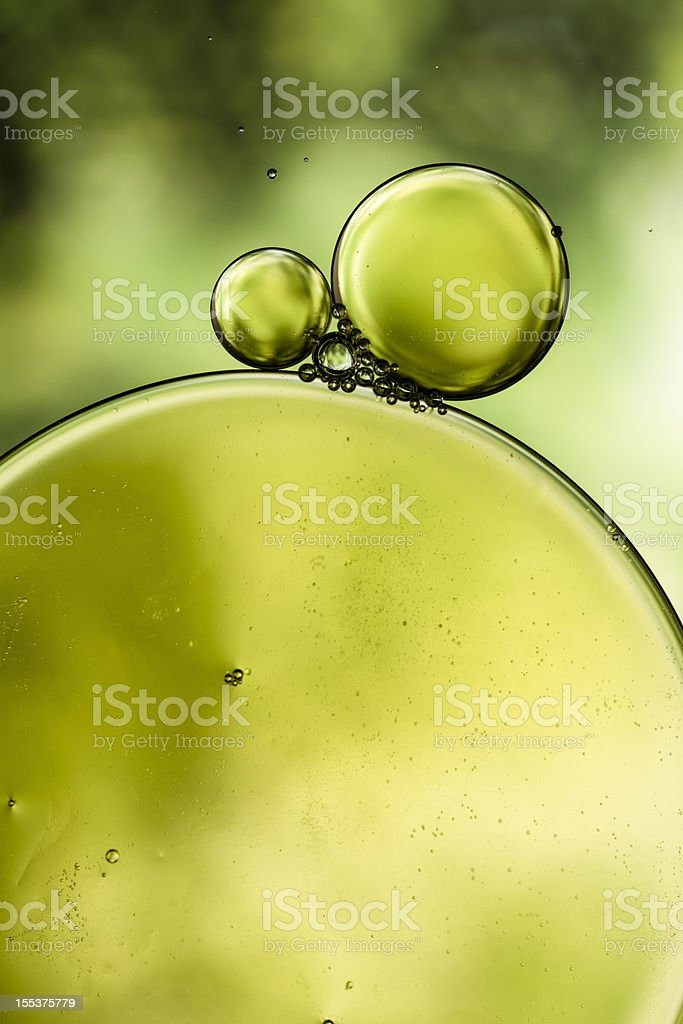 Oil & Water - Abstract Background Green Macro royalty-free stock photo