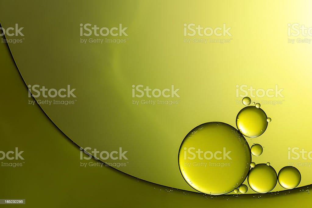 Óleo & água de fundo verde abstrato Macro - foto de acervo