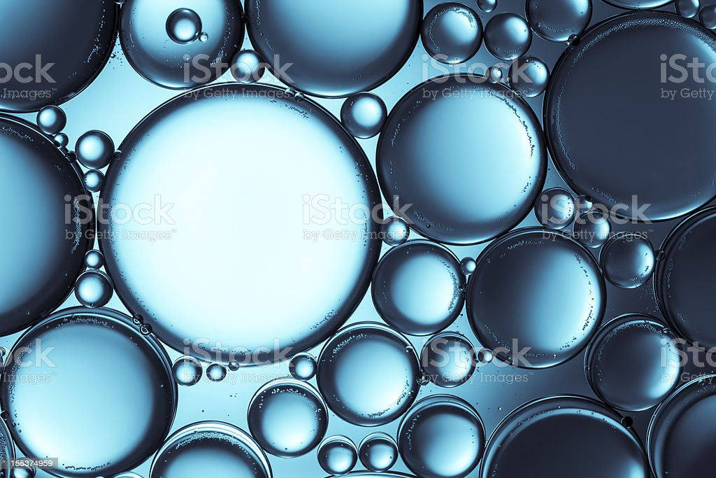 Oil & Water - Abstract Blue Macro Background stock photo