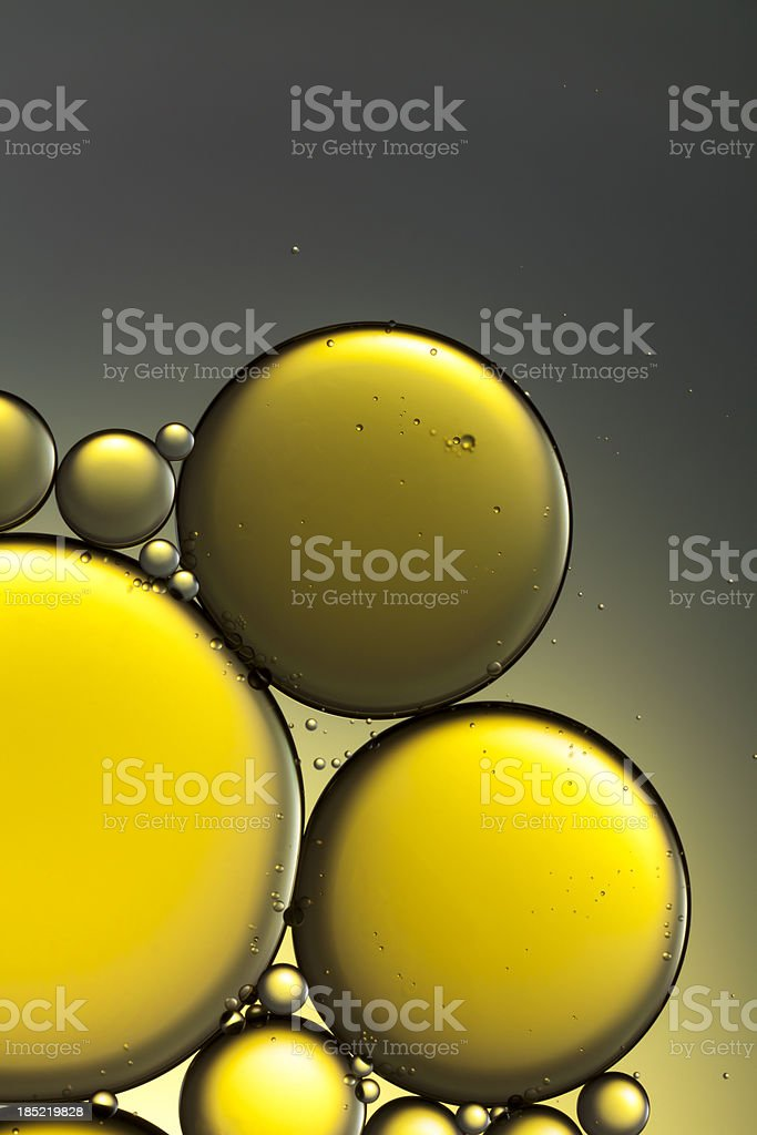 Oil & Water - Abstract Yellow Gold Macro Background stock photo