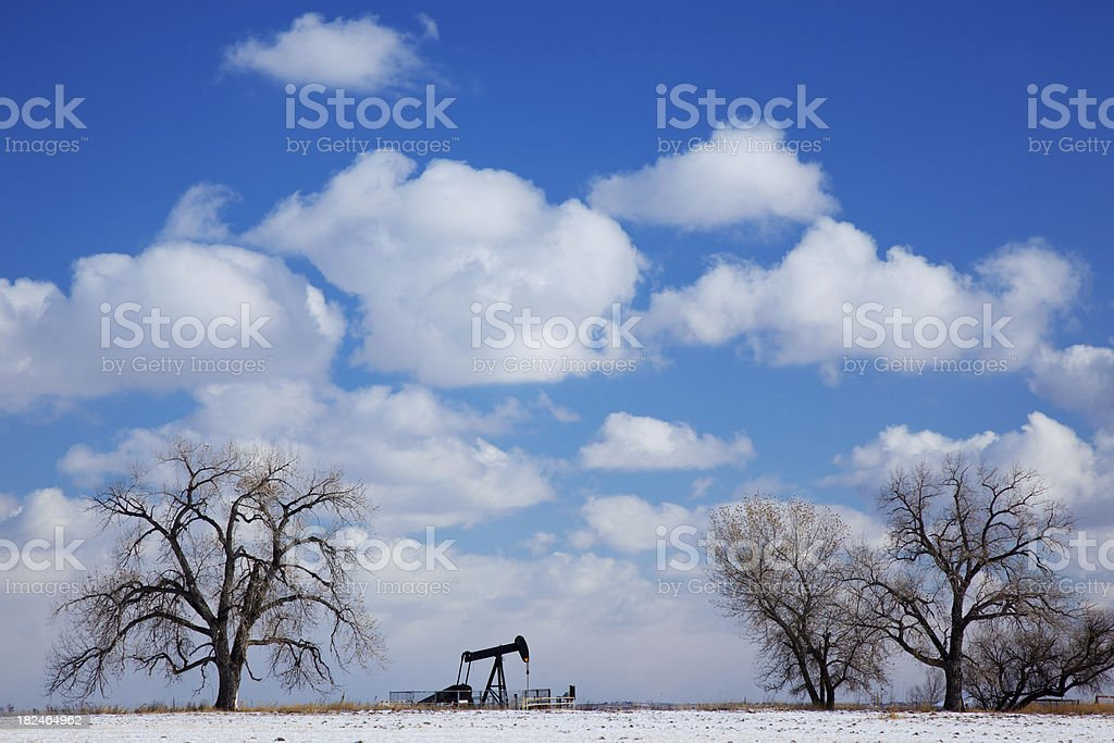 OIl Well and Trees stock photo