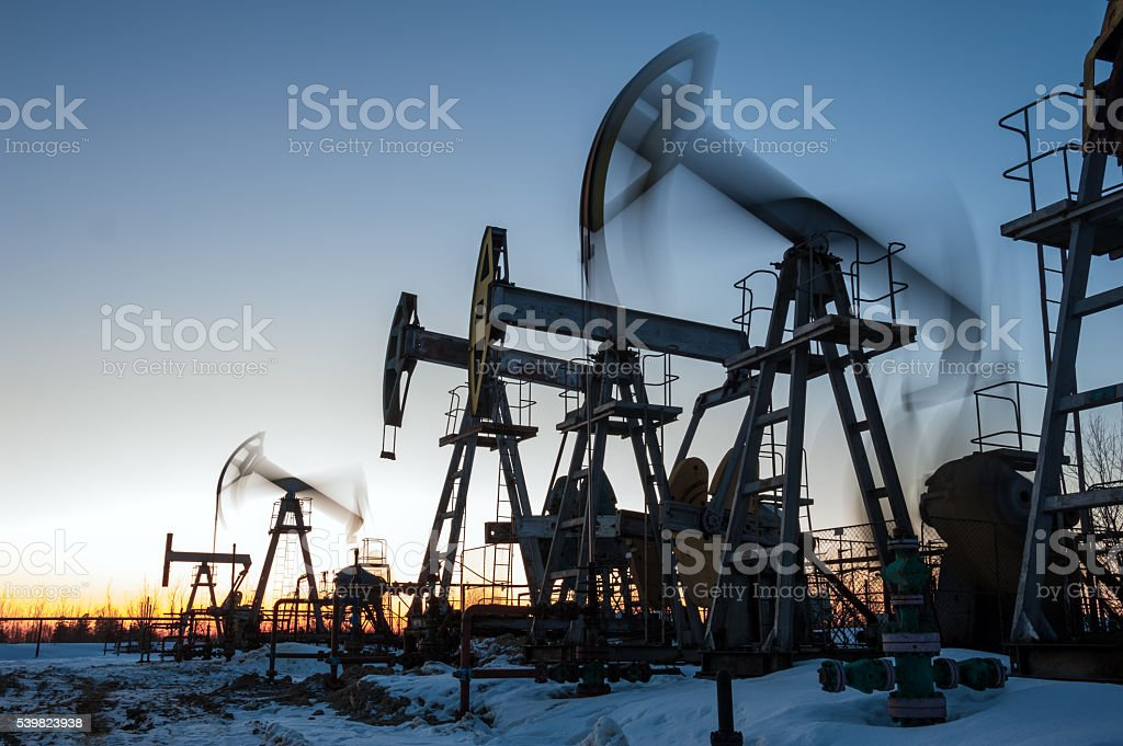Oil well pumps. stock photo