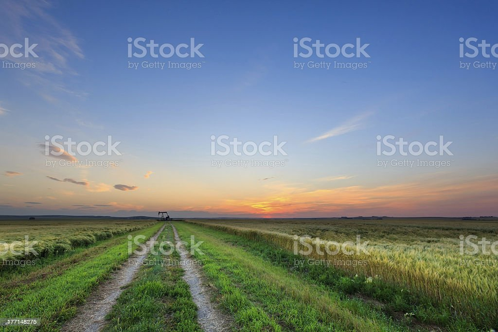 Oil Well sunset royalty-free stock photo
