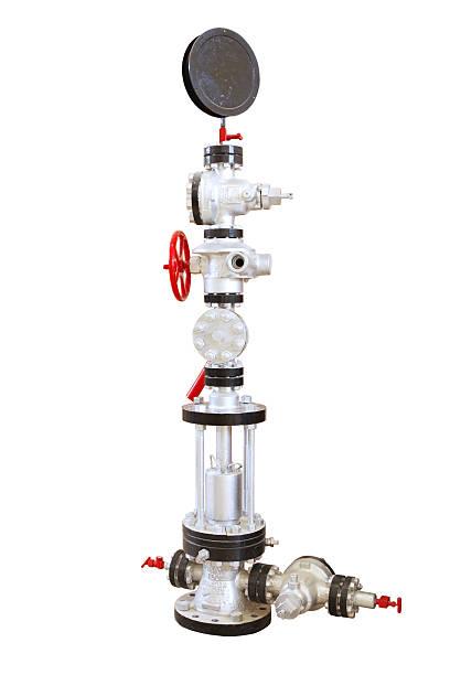 Oil well wellhead stock photo