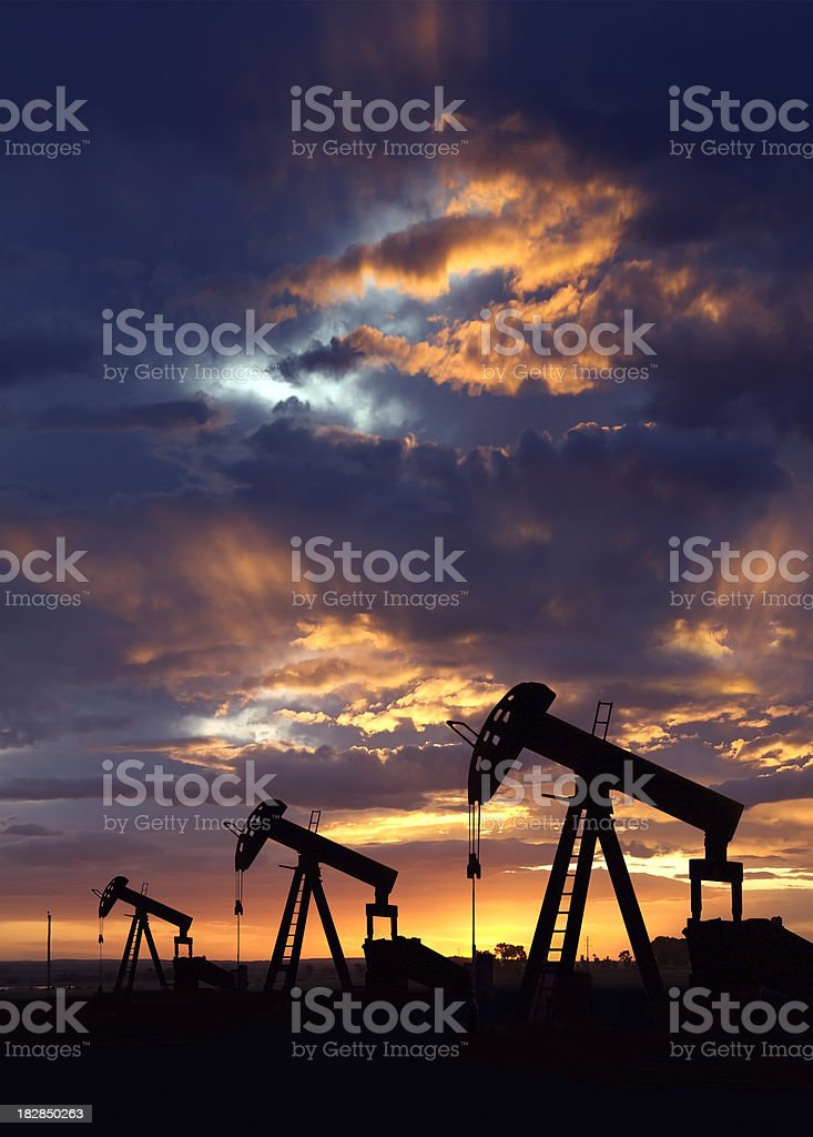 Oil Wells at Dawn, Vertical stock photo