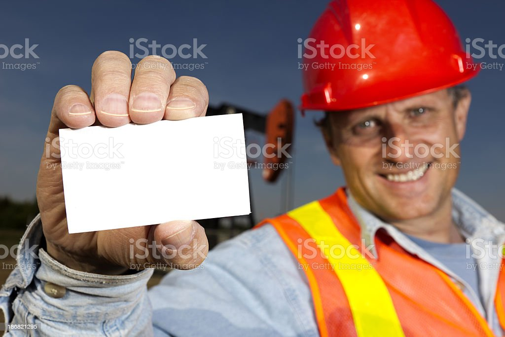 Oil Worker and Card, royalty-free stock photo