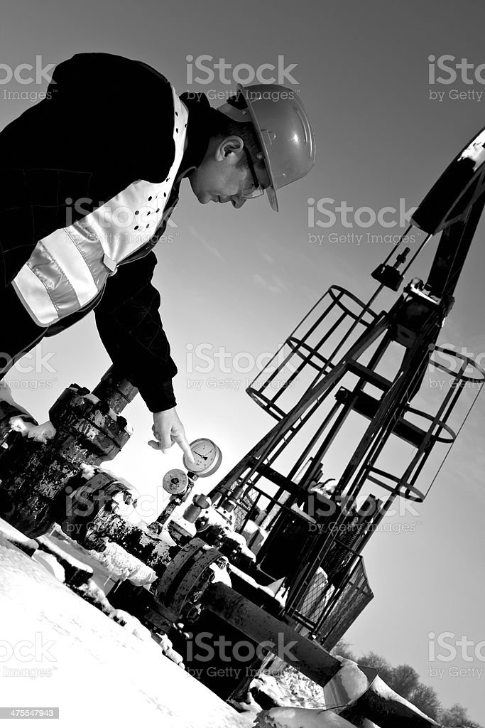 Oil worker stock photo