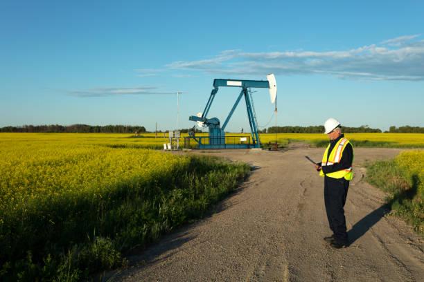 Oil Worker Safety Gear Prairie Oil stock photo