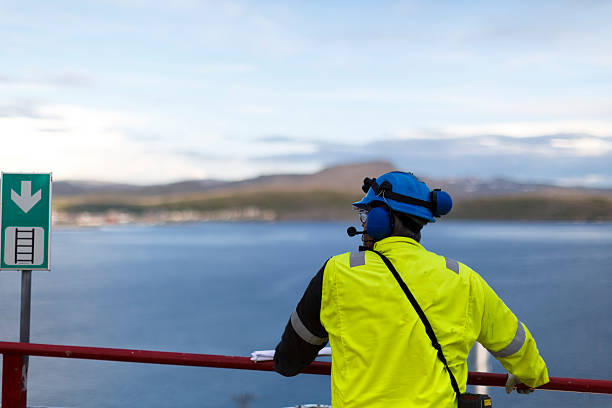 OIl worker taking in the view. stock photo