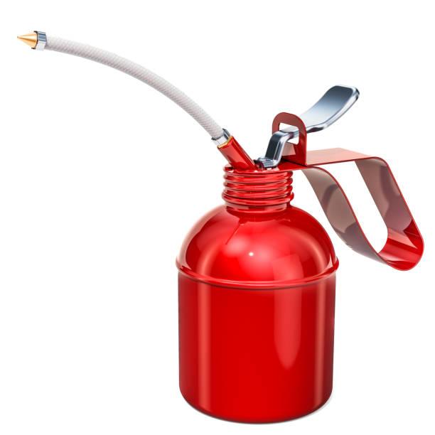 Aceitera, aceite rojo Can. 3D rendering aislado sobre fondo blanco - foto de stock