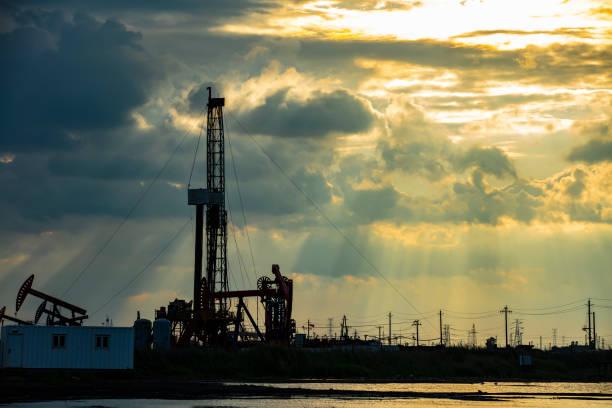 Oilfield derrick stock photo