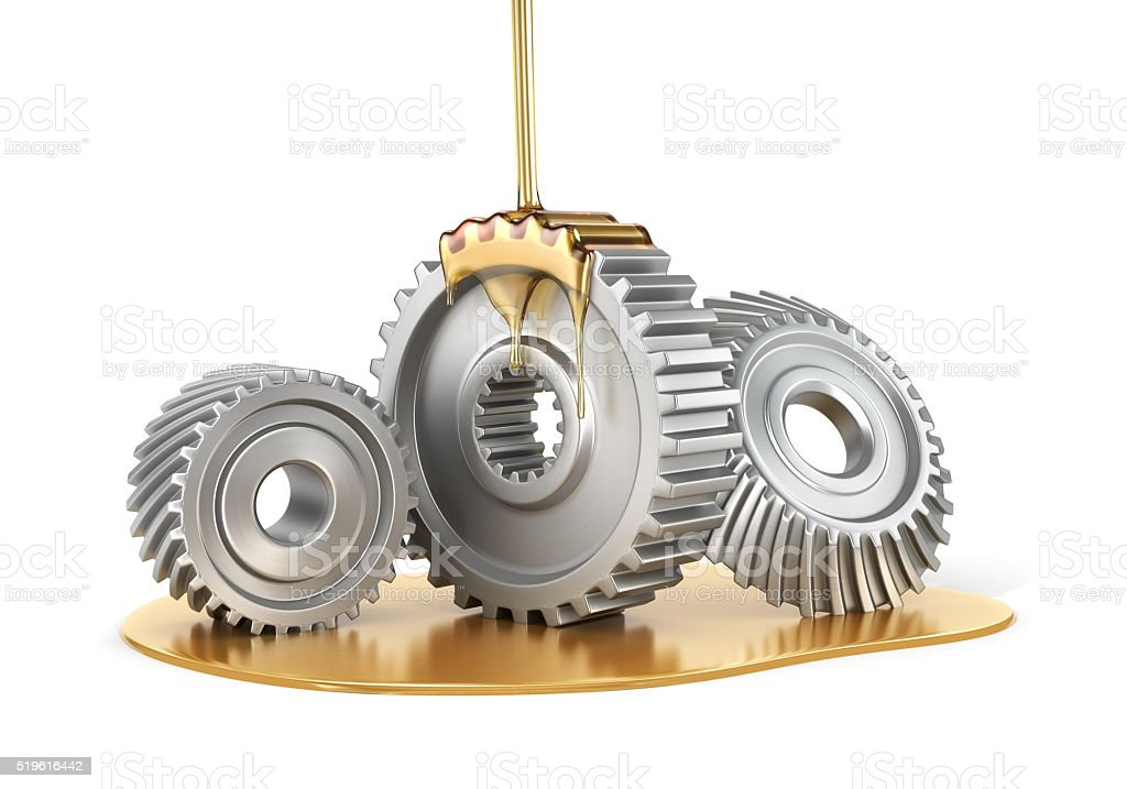 Oiling Gears. stock photo