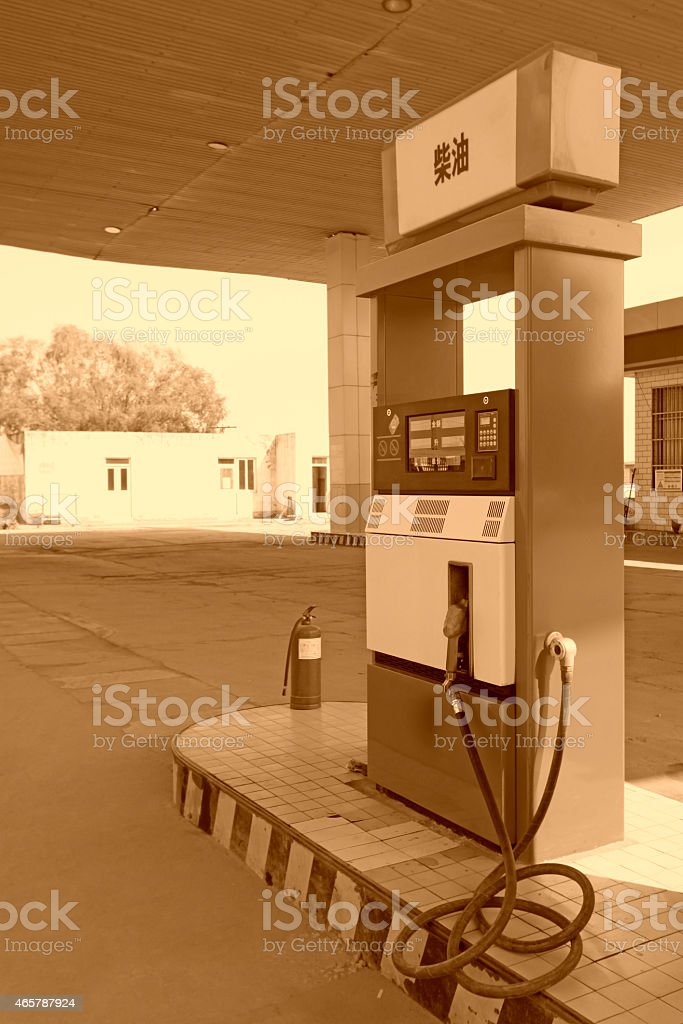 oiling machine in a gas station stock photo