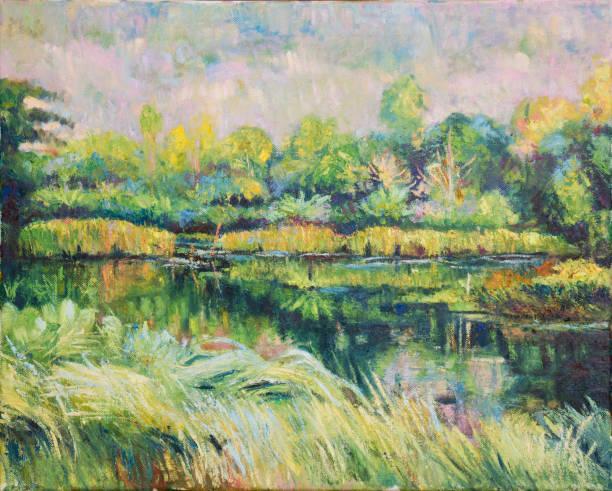Oill Farbmalerei der Landschaft auf Leinwand – Foto