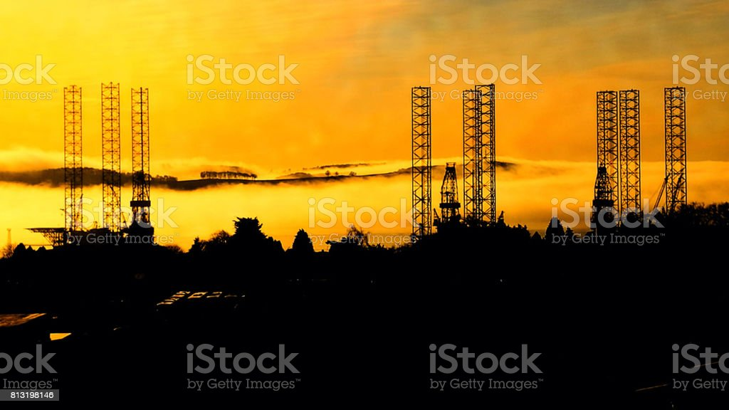Oilrigs on the Firth of Tay stock photo