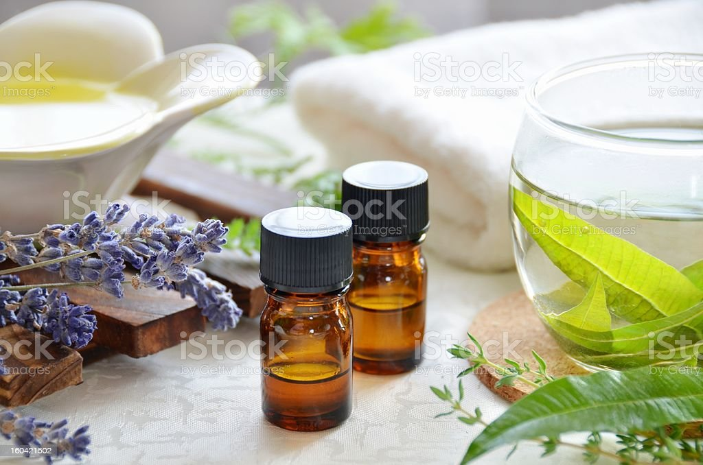 Oils used for aromatherapy treatment stock photo