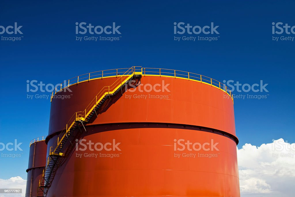 Oiltank with stairs royalty-free stock photo