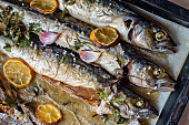 excellent fresh blue fish for a healthy diet freshly cooked with olive oil, lemon and herbs