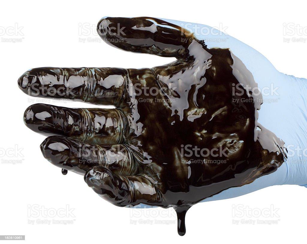 oily hand (XXL) royalty-free stock photo