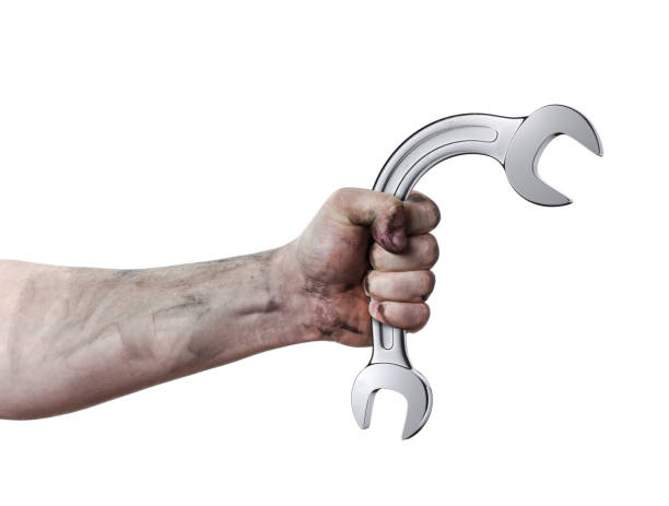 Oily hands of mechanic holding a wrench. Isolated background. Wrenches bent. 3d render Oily hands of mechanic holding a wrench. Isolated background. Wrenches bent. 3d render erectile dysfunction stock pictures, royalty-free photos & images