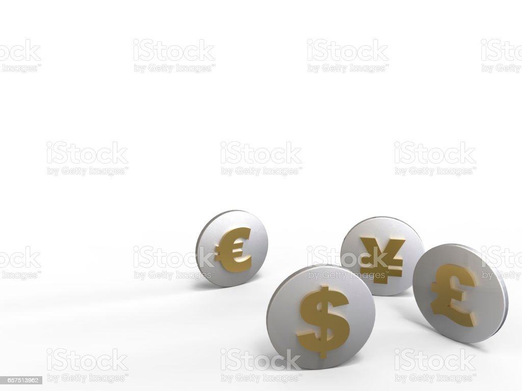 Oins With Images Of Currencies Of Different Countries Stock Photo