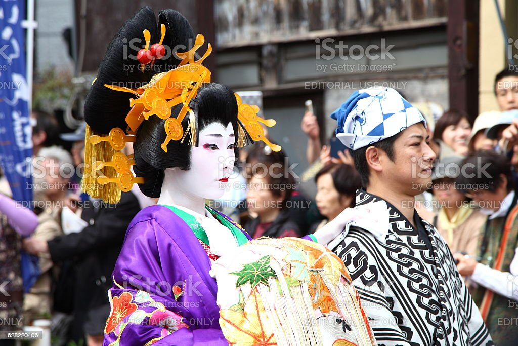 Oiran Dochu Procession, Parade of Japanese Traditional Courtesan in JAPAN. – Foto