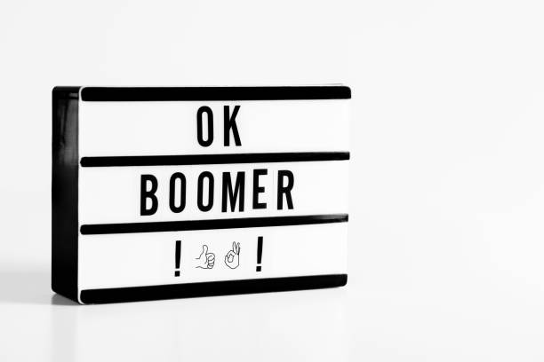 Ok Boomer Ok boomer message in light box. Lightbox on the white background. baby boomers stock pictures, royalty-free photos & images