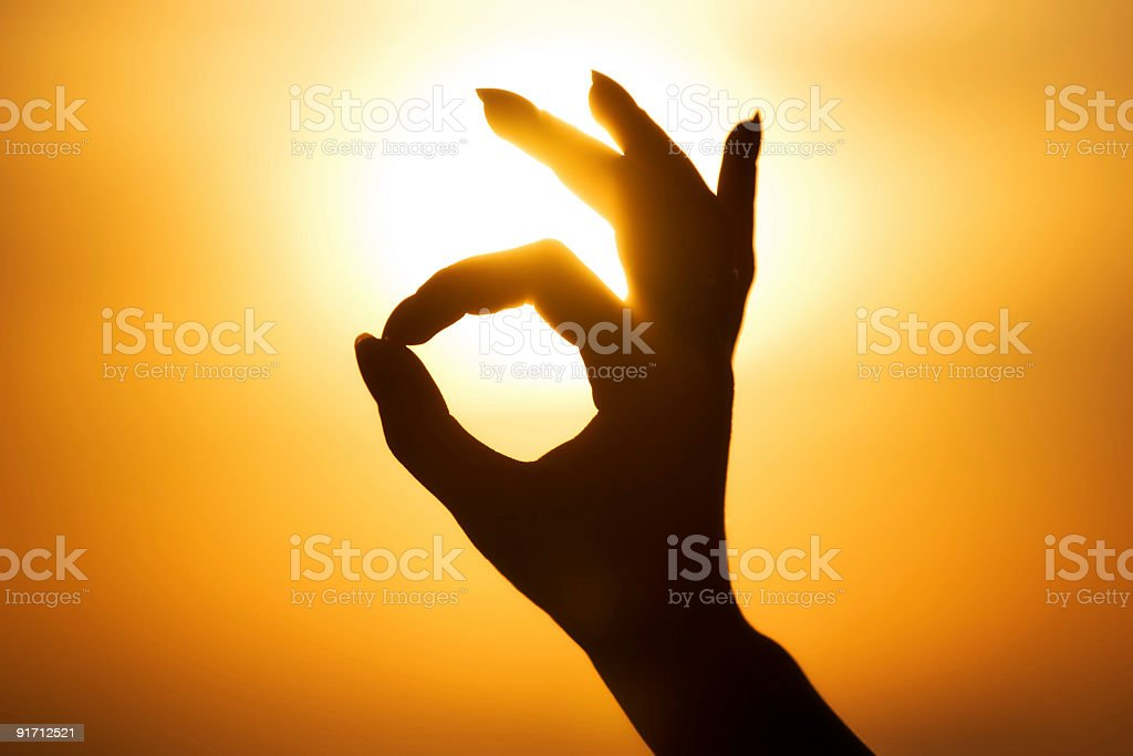 Ok hand sign silhouette royalty-free stock photo