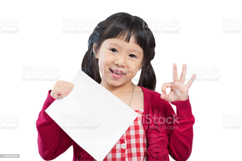 Ok sign and holding blank paper stock photo