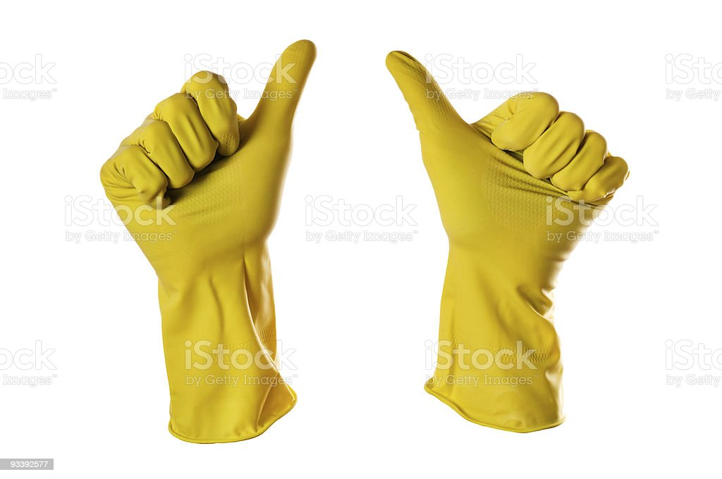 ok sign yellow rubber gloves royalty-free stock photo