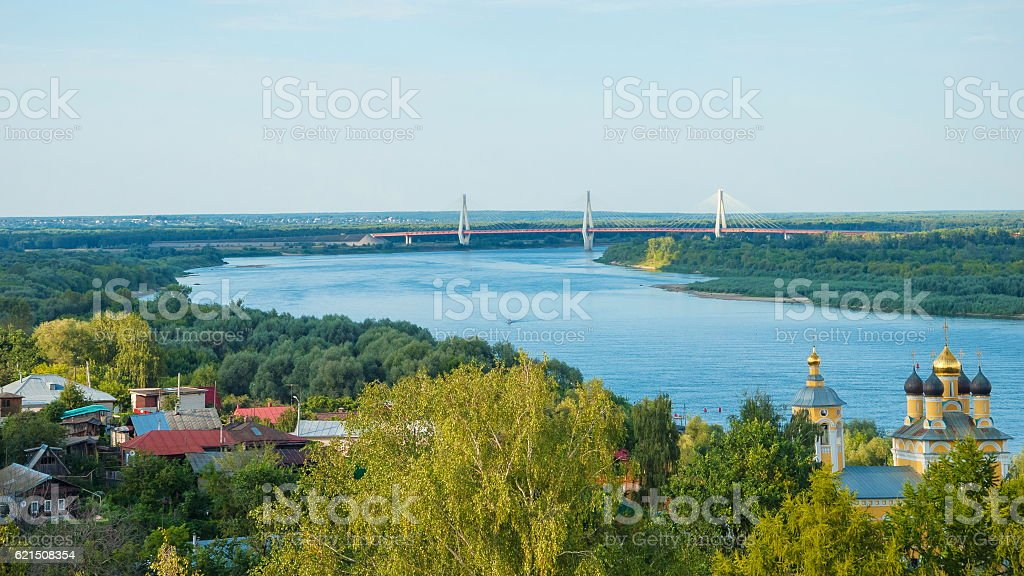 Oka River and the city Murom foto stock royalty-free