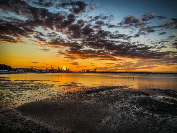 Okahu Bay Sunset stock photo