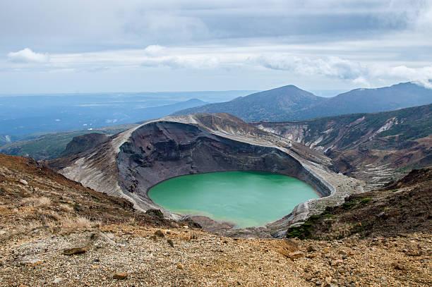 Okama Crater Lake in Japan, Zao stock photo