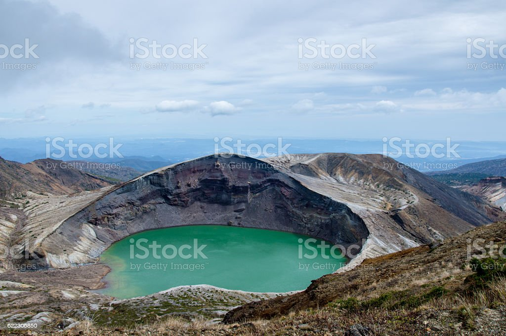 Okama Crater Lake in Japan, Zao stock photo