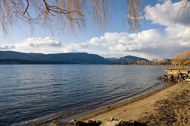 Okanagan Lake beach stock photo
