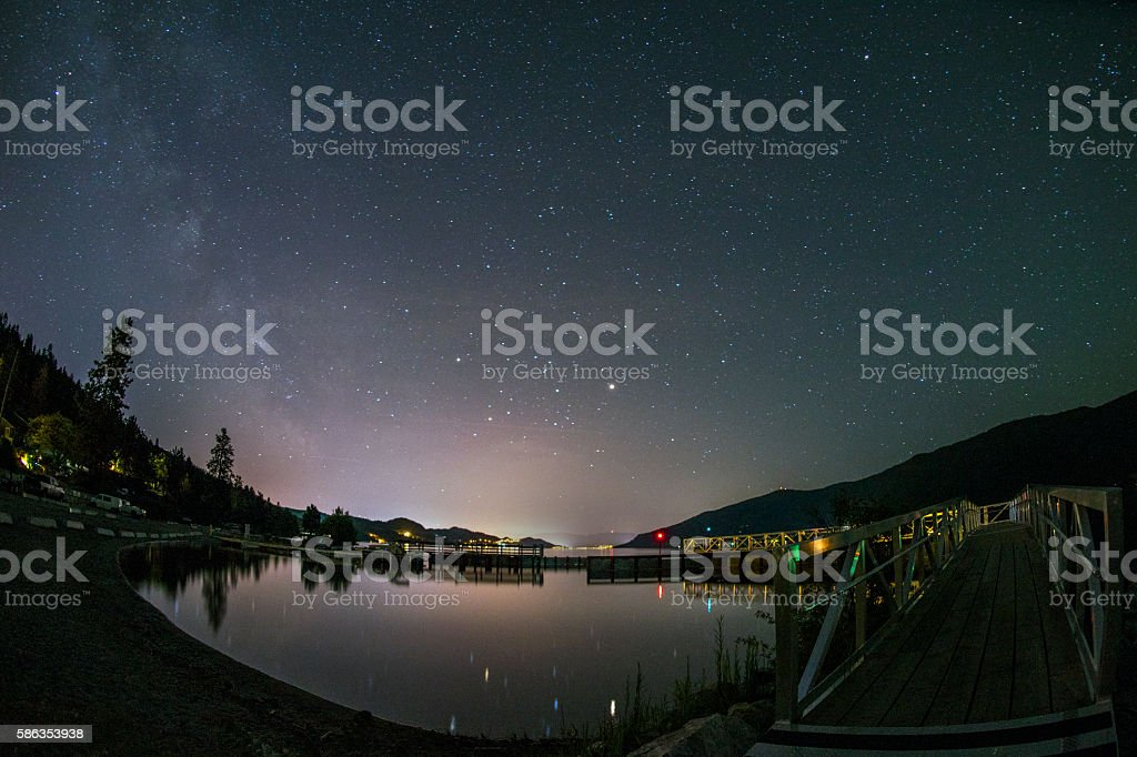 Okanagan Lake beneath the Milky Way stock photo