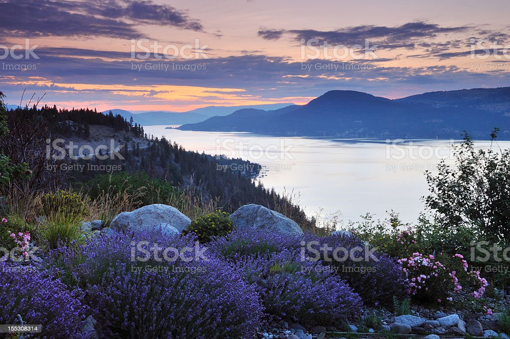 Okanagan lake in the cloudy morning stock photo