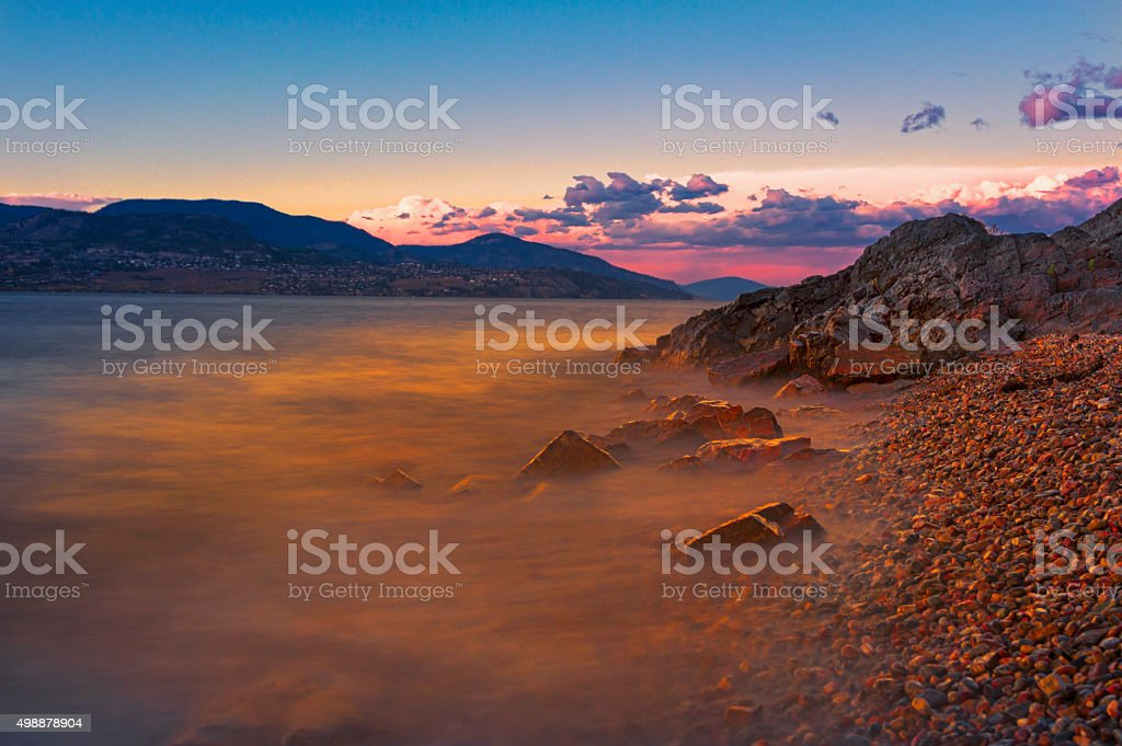 Okanagan Lake Sunset, Kelowna British Columbia Canada stock photo